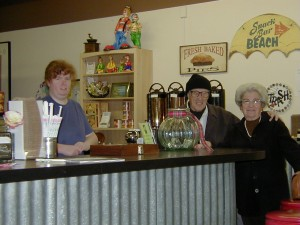 Customers and waitress at the Coffee Grinder.