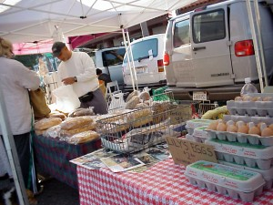 Eggs and bread at Farmers Market, 2001.