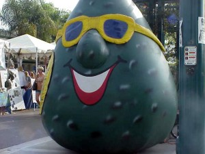 Mr. Avocado Head from the California Avocado Commission is representing Calavo!