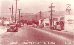 This is Coast Highway at Linden Avenue looking west. This picture was taken in 1947.
