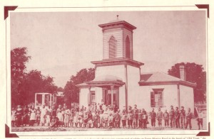This is the first schoolhouse in Carpinteria, built around 1858. This picture was taken in 1870.