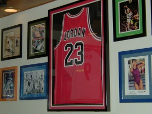 A Chicago Bulls jersey autographed by Michael Jordan. It is on display at The Zone.